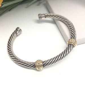 David Yurman .925 14K Gold Double Station Bracelet